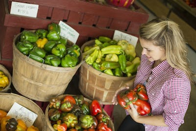 A young woman sorting different types of bell pepper for sale.
