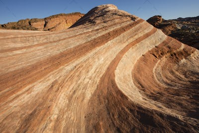 View across Fire Wave, a rock formation in Valley of Fire State Park