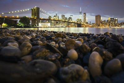 Night view towards Manhattan from Brooklyn