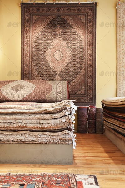 Rugs on display in shop