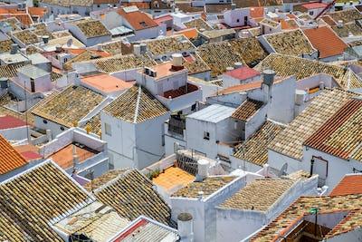 Aerial view of Olvera cityscape, Cadiz, Spain