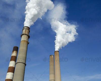 Smokestacks Billowing Smoke