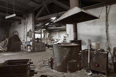 Empty dilapidated casting metalwork workshop