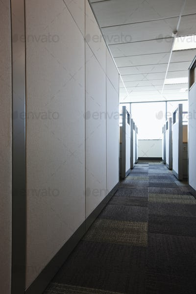 Carpeted Hall with Office Cubicles