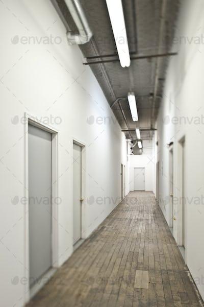 Long Corridor With Closed Doors