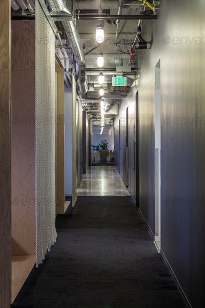 Modern architecture in office hallway