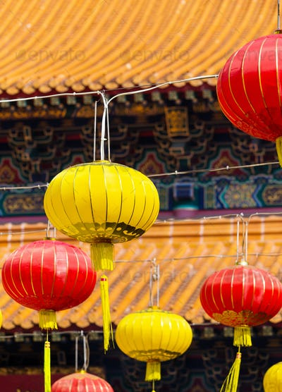 Red and yellow Lantern in Chinese temple