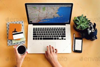 stylish laptop pen phone and succulent