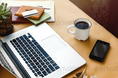 stylish young girl working economist financial analytics holding pen with laptop