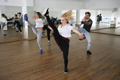 Group of four hip-hop dancers