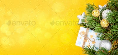 Christmas greeting card with decorater fir tree
