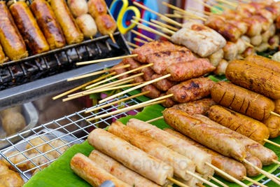 Thailand style grilled food on street