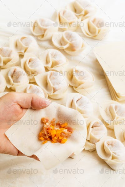 Wrapping of Chinese dumpling
