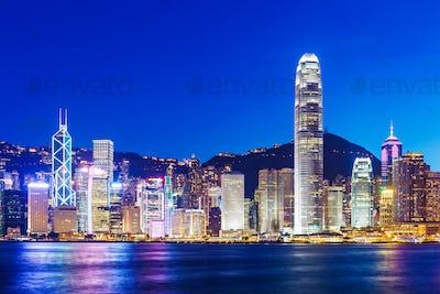 Hong Kong skyline at evening