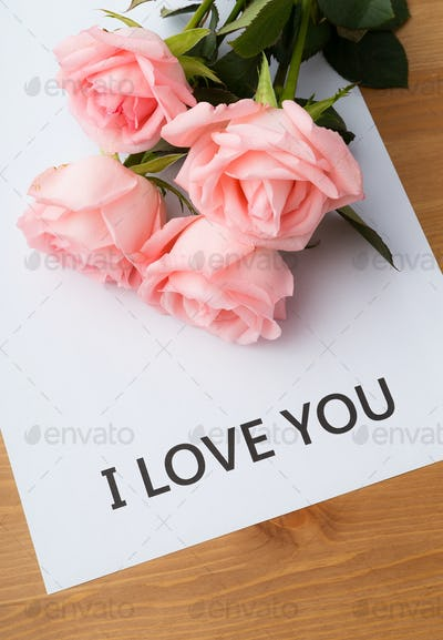 Pink rose with message of I Love You