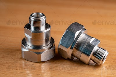 High frequency connectors component with a shiny copper nickel plating covering