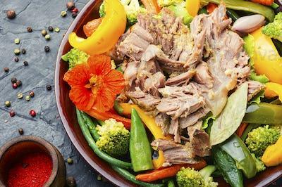 Stewed meat in vegetables