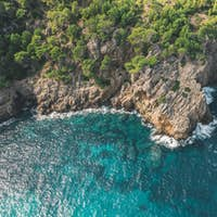 Tropical Coastline with Rich Colours and Turquoise Water in Spain, Aerial Drone view from above