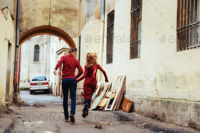 Couple enjoying outdoors in a urban surroundings