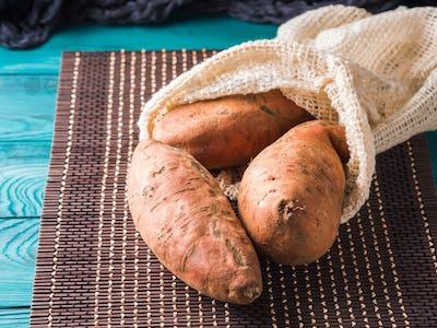 Sweet potato in a reusable cotton mesh bag