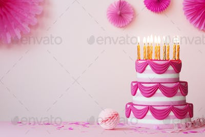 Birthday party with pink tiered cake