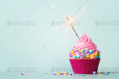 Birthday cupcake with sparkler and sprinkles