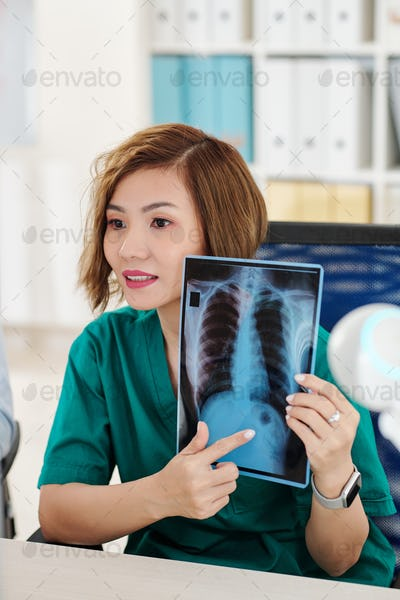Radiologist making video call