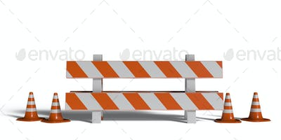 Construction safety. Street barricade and traffic cones isolated on white background.