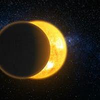 Total solar eclipse 3d: lunar silhouette art illustration. Epic cosmos scene in dark blue background