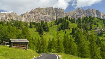 Mountain landscape along the road to Gardena pass, Dolomites