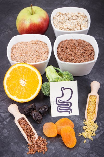 Beneficial eating for digestive system. Healthy ingredients as source vitamins