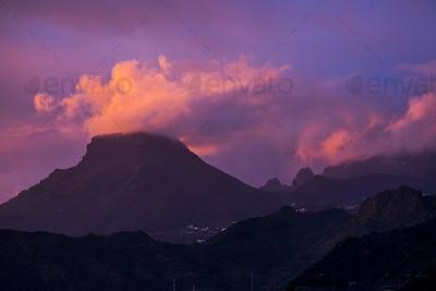 Coloured purple violet sunset