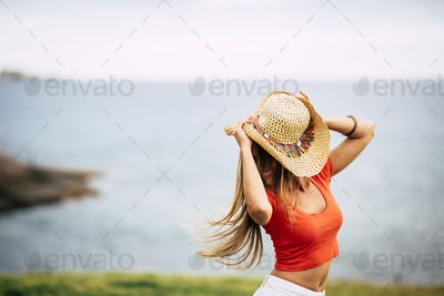 Happiness concept with cheerful and joyful girl