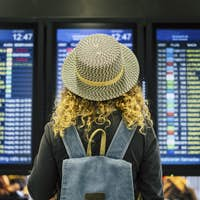 Travel people in airport or train station