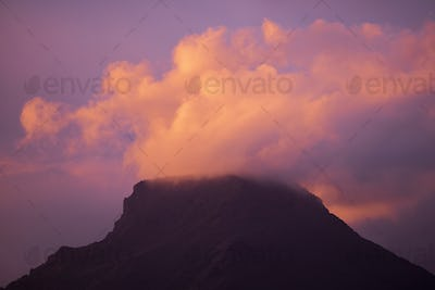 Coloured purple violet sunset at the mountain