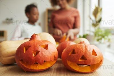 Preparing Pumpkins For Halloween