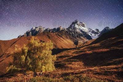 Fantastic starry sky. Autumn landscape and snow-capped peaks