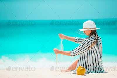 Young beautiful woman on beach tropical vacation