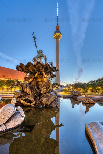 The Television Tower and the Neptune fountain at Alexanderplatz