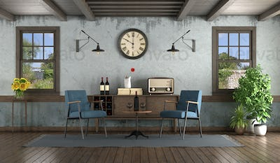Retro style living room with armchairs and sideboard