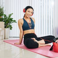 Sportwoman training at home