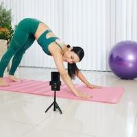Blogger conducting online yoga class