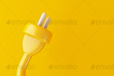 3d Electric plug on yellow background