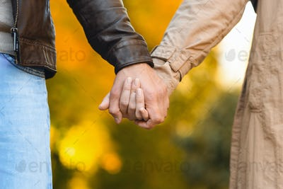 Cropped of couple hands over blurred autumn background