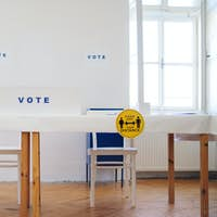 Elections and polling place, covid-19 and coronavirus concept
