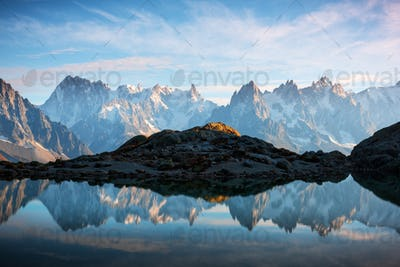 Sunny day on Lac Blanc lake in France Alps