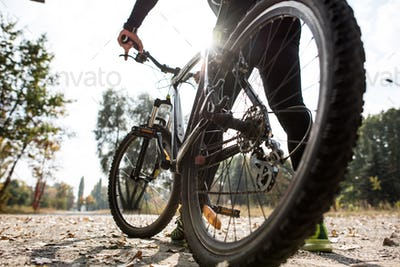 Rear view of man with bicycle, surface level