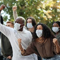 International group of angry students protesting against racism
