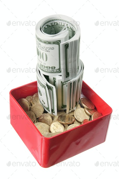 Dollar Notes and Coins in Box