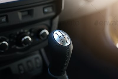Close up view of a gear lever shift.